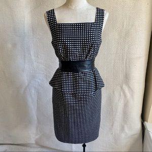 Vintage 90s Anne Klein Peplum Polka Dot Midi Dress